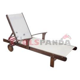 Шезлонг дървен текстилен с подлакътник 200x72x51см.