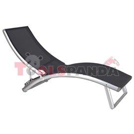 Шезлонг алуминиев 4-позиционен лукс сив