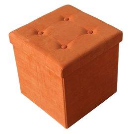 Табуретка сгъваема 3 в 1 велурена оранжева