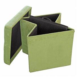 Табуретка сгъваема 3 в 1 велурена зелена