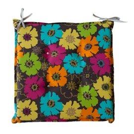 Възглавница за стол с декорация на цветя 45x45x5см.