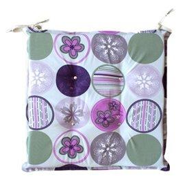 Възглавница за стол с декорация кръгове с цветя 45x45x5см.