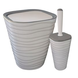 Кош за отпадъци 9л. и четка за тоалетна сиви Welle к-т