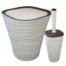 Кош за отпадъци 9л. и четка за тоалетна бежови Welle к-т