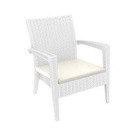 Кресло с подлакътник бяло ратан Miami