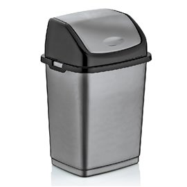 Кош за отпадъци с люлеещ се капак сиво/черен Fantasy 50л.