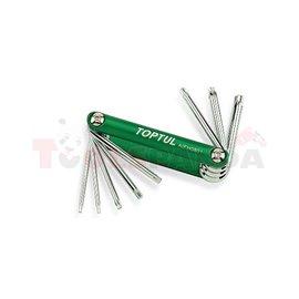 комбиниран инструмент лимбуси TORX, 8 в 1: T9, T10, T15, T20, T25, T27, T30, T40