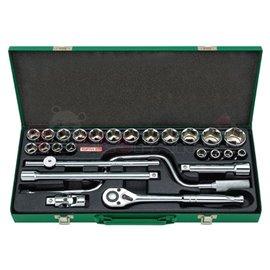 """комплект 26 броя инструменти 1/2"""" - тресчотки, въртоци, вложки и др. в метална кутия"""