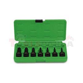 """комплект ударни вложки torx 1/2"""", T30, T40, T45, T50, T55, T60, T70 в пластмасова кутия"""