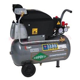 Копресор бутален преносим 24 литра. Работоспособност 310 литра/минута. Мощност 1.5 kW. Налягане 8 бара. Захранване 230 V. Предпа