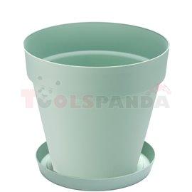 Саксия кръгла зелена 24х22см. 6л. Yali