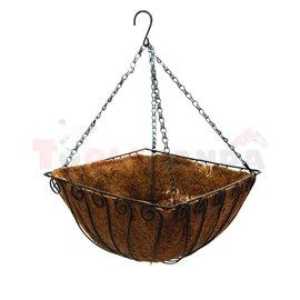 Саксия кокосова кошница с дръжка 30x20x15см.