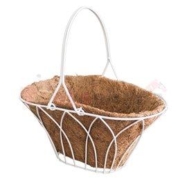 Саксия кокосова кошница бяла 30x20x15см.