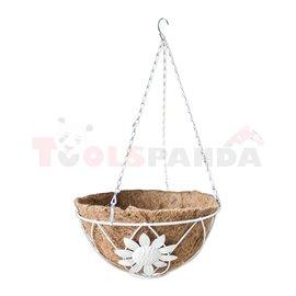 Саксия кокосова висяща кръгла бяла 25.5см.