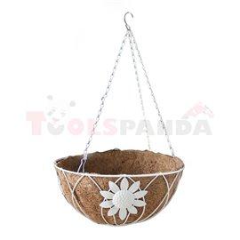 Саксия кокосова висяща кръгла бяла 30.5см.
