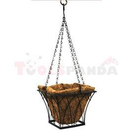 Саксия кокосова висяща квадратна 30x30x20см.