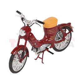 Макет на мотор тъмно червен Jawa 50 Pionyr Parez 1955 1:18 14г.