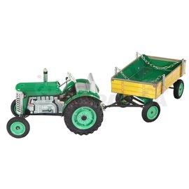 Трактор с ремарке зелен Zetor 30х9х9.5см. 1:25 5г.