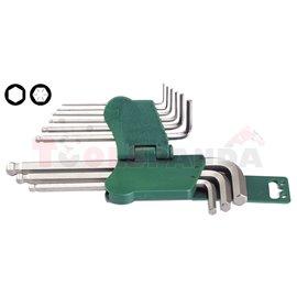 Комплект от 9 броя Г - образни шестограми (имбуси). Размери 1,5, 2, 2,5, 3, 4, 5, 6, 8, 10 мм. | HANS