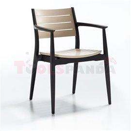 Стол тъмно кафяв/капучино Regnum 44.5х56х81.5см.