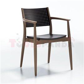 Стол тъмно кафяв/бежов Seginus 44х56х81.5см.