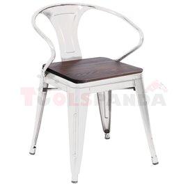 Стол с подлакътник дърво/метал 56х51х80см. Retro white