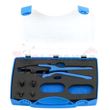 Комплект клещи за кримпване на кабелни накрайници с подменяеми челюсти в пластмасова кутия - UNIOR