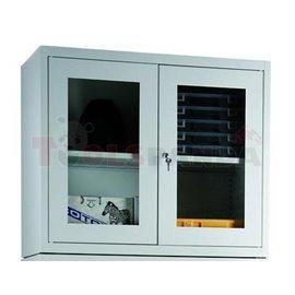 Шкафове със стъклени вратички, 1150 x 950 x 400 мм, сглобяема конструкция - MEVA