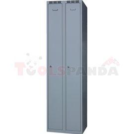 Двукрилен гардероб - 1800 x 500 x 500 мм - сив - MEVA
