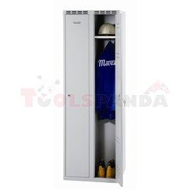 Двукрилен гардероб - 1800 x 600 x 500 мм - сив - MEVA