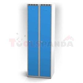 Двукрилен гардероб - 1800 x 600 x 500 мм - сивосин - MEVA