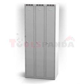 Трикрилен гардероб - 1800 x 750 x 500 мм - сив - MEVA