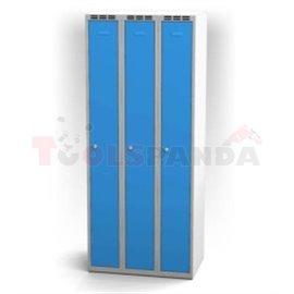 Трикрилен гардероб - 1800 x 750 x 500 мм - сивосин - MEVA