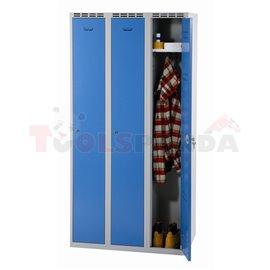 Трикрилен гардероб - 1800 x 900 x 500 мм - сивосин - MEVA