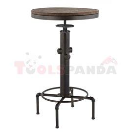Бар маса регулируема метал/дърво ф56х90-105см. Old school black