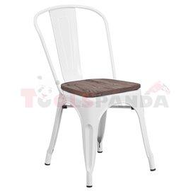 Стол метал/дърво 51х44х84см. Retro white