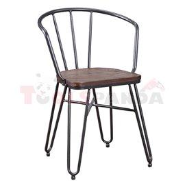 Стол с подлакътник метал/дърво 49х51.5х75см.