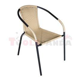 Стол градински с подлакътник с оплетка бежов метал/ратан черен