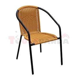 Стол градински метал/ратан черен