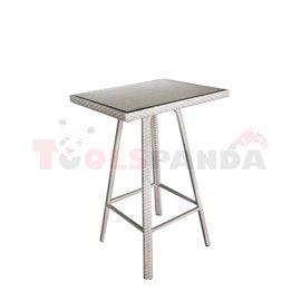 Бар маса правоъгълна PVC ратан/алуминиева рамка 76х61х110см.