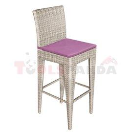 Бар стол PVC ратан/алуминиева рамка с лилава възглавница