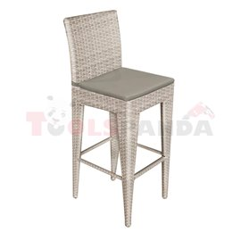Бар стол PVC ратан/алуминиева рамка със сива въглавница