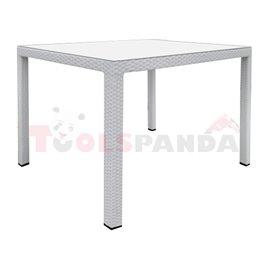 Маса градинска PVC ратан бяла 90х90х75см.