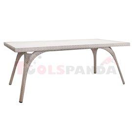 Маса градинска правоъгълна PVC ратан/алуминиева рамка 180х90х75см.