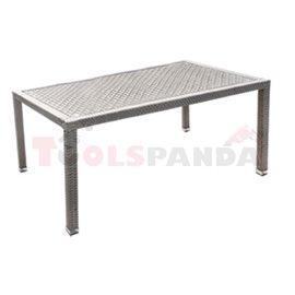 Маса градинска разглобяема PVC ратан/алуминиева рамка 160х90х75см.
