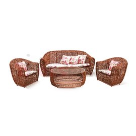 Мебели градински PVC ратан Натурал 4 части