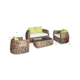 Мебели градински PVC ратан/алуминиева рамка Khaki с възглавници зелени 4 части