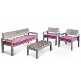 Мебели градински с възглавници сиво/лилаво 4 части