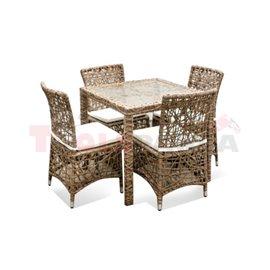 Мебели градински с квадратна маса и възглавници Khaki
