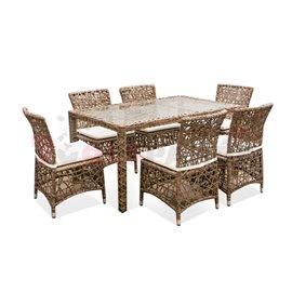 Мебели градински с правоъгълна маса и възглавници Khaki